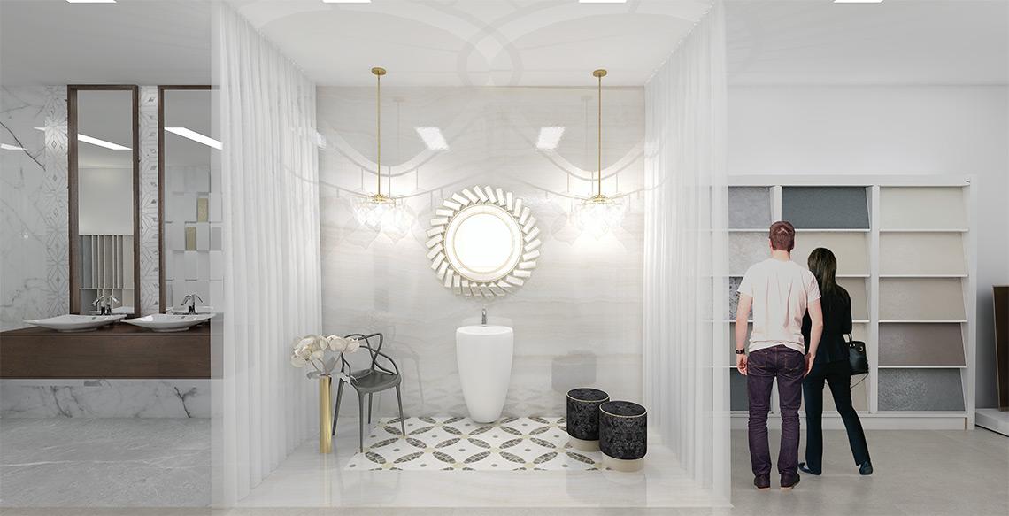 Luxusní showroom obkladů a dlažeb – exkluzivní vybavení koupelen, sanita, designové obklady