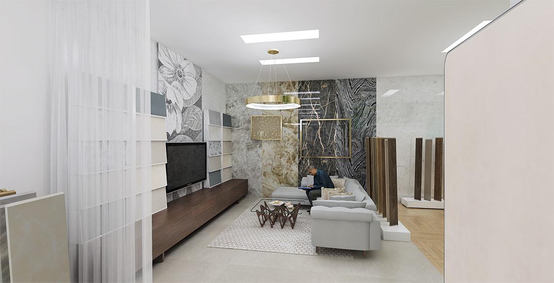 Luxusní vzorkovna obkladů a dlažeb – exkluzivní obklady, relax zóna pro zákazníky, digitální prezentace kolekcí