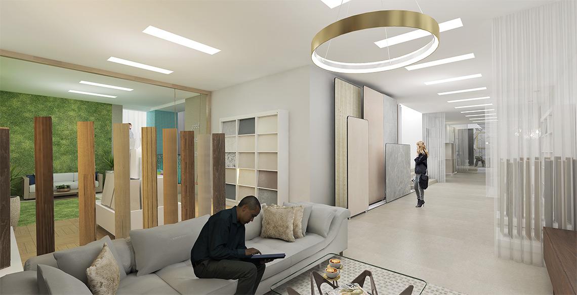 Luxusní vzorkovna obkladů a dlažeb – exkluzivní obklady a dlažby, relax zóna pro zákazníky, digitální prezentace kolekcí