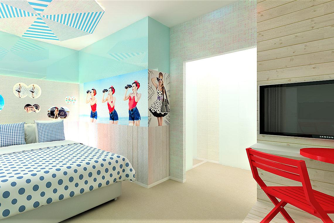 Interiér hotelového pokoje, návrh komerčního interiéru