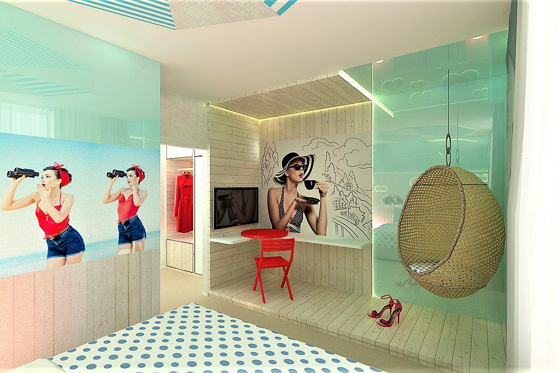 Hotelový pokoj – návrh interiéru vduchu Saint-Tropez
