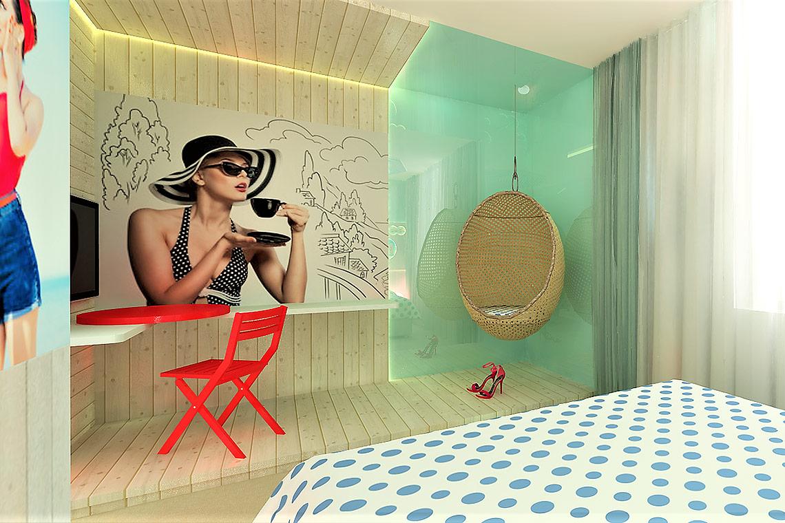 Návrh hotelového pokoje – detail vduchu kavárny a pláže Saint-Tropez