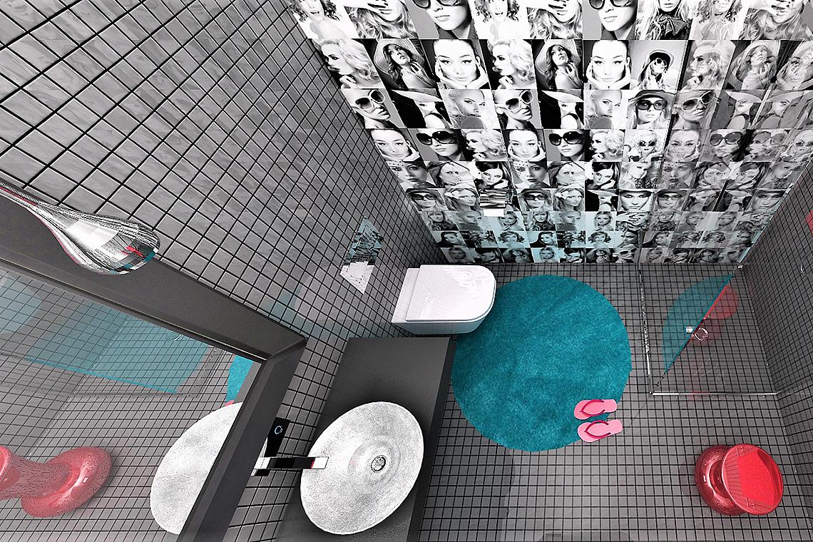 Návrh hotelového pokoje – koupelna soriginálním obkladem na stěně, co obkladačka, to obličej