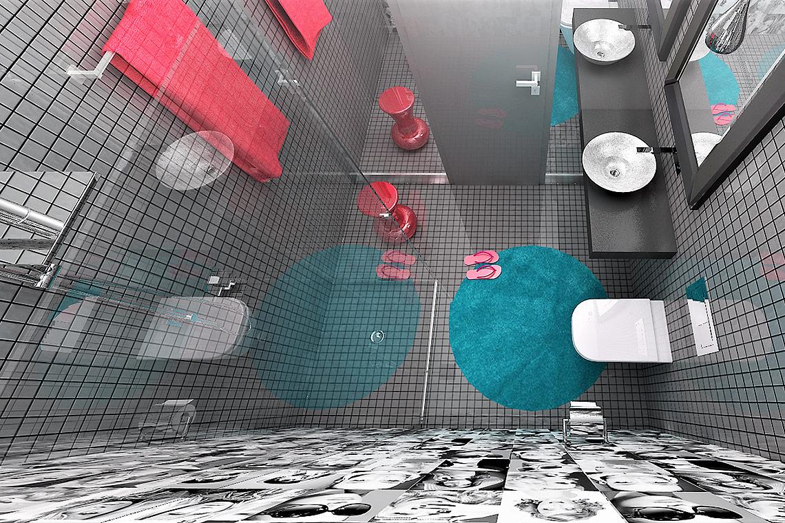 Návrh hotelové koupelny – barevnost doplňků koresponduje sbarevností pokoje